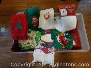Bin of Christmas Towels Kitchen and Wash Towels