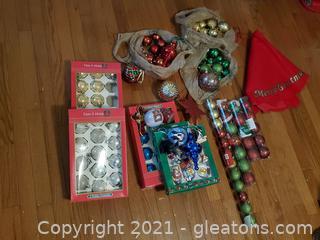 Christmas Tree Ornaments and Skirt