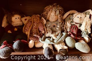 4-Handmade Quilted and Stitched Doll Lot