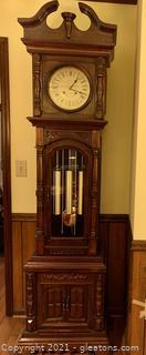 Hand Carved Mahogany Grandfather Clock
