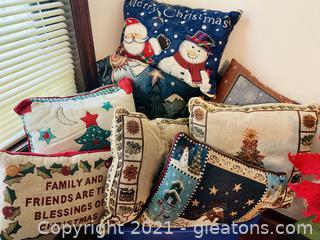A Bin of Christmas Pillows