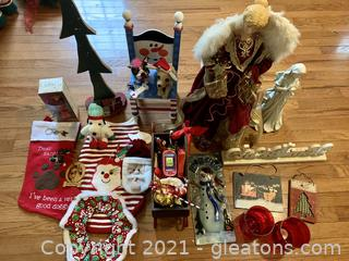 Angels, A Sleigh, A Tree, Candle Holders, A Chair & More
