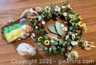 Spring Color and Bunny Rabbit Decor Lot