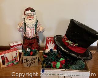 Christmas Santa Figurine Lights and Large Top Hat