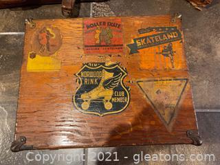 Vintage Wooden Box with Roller Skates
