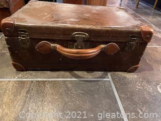 Vintage Leather Suitcase with Reinforced Corners