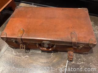 Vintage Leather Suitcase with Buckles & Reinforced Corners