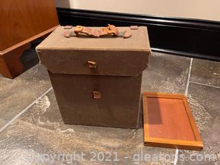 Vintage Camera Case W/Wood Negatives Insert