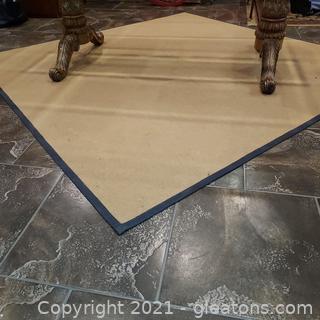 Low Pile Area Carpet – Tan with Black Edge
