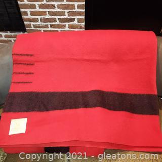 Red and Black Hudson Bay Wool Blanket