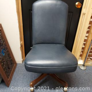 Nice Blue Leather Desk Chair
