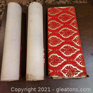 2½ Rolls of Vintage Red and Gold Velvet Embossed Wall Paper