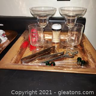 Some Barware on a Square Hammered Copper Tone Tray