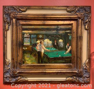 Signed and Framed Men Playing Pool