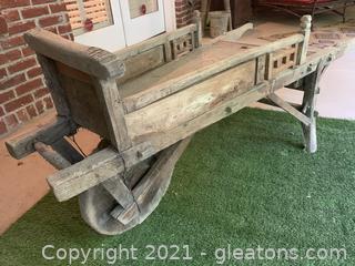 Primitive Flatbed Wheelbarrow