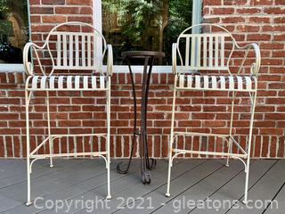 Wrought Iron Cream Painted Bar Height Chairs with a Table