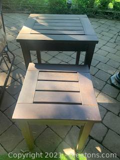 Two Wooden Outdoor Side Tables
