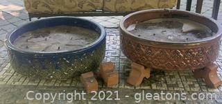 Two Large Outdoor Candles with 6 Terra Cotta Pot Feet