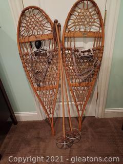 Vintage Snocraft Snowshoes with Poles
