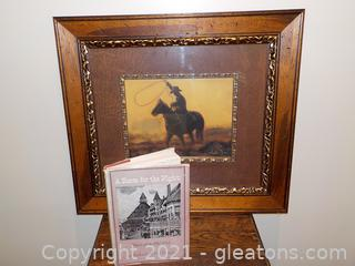 Western Lot : One Cowboy Print and Book of Hotels of The Old West