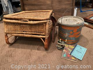 Wicker Fisherman's Angling Chair W/ Minnow Bucket & Accessories