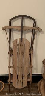 Vintage Wooden and Metal Sled