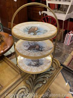 3 Tiered Gold Metal Plate Display W/(8) Edward Marshall Boehm Owl Plate Collection