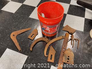 Orange Bucket of 100+ Year Old Tools & Parts