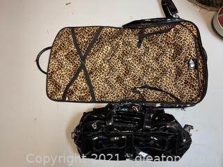 2 Piece Set of Black Vinyl Luggage with Velour Leopard Print Interior