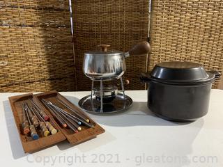 Mid Century Fondue Pot and Baker