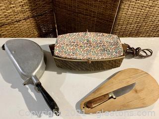 Mid Century Hot Plate, Knife and Omelette Maker