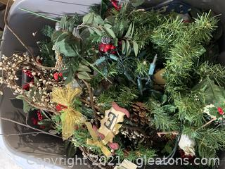 Bin of Christmas Greenery and Such