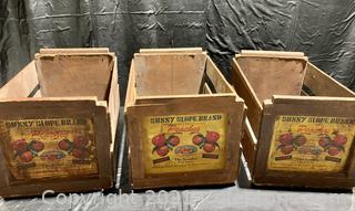 Vintage Sunny Slope Peaches Wood Fruit Crates