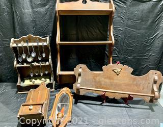 Handmade Shelf, Towel Rack and Candle Holders