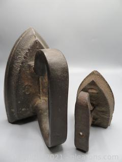 Antique Solid Irons / Farmhouse Doorstops