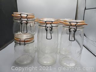 Le Parfait O, 50L (1), O, 75L (1), and (5) 1, 50L Canning Jars