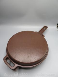 """10½"""" Cast Iron Skillet and Griddle Lauffer Made in London"""