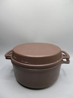 """Vintage Lauffer Cast Iron Enamel 9"""" Dutch Oven"""