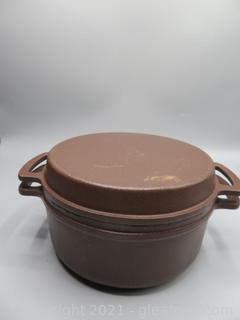 """Vintage Lauffer Cast Iron Enamel Dutch Oven 7½"""""""