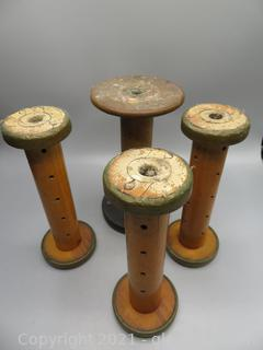 Lot of 4 Antique Wood Spindles