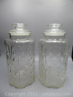 L. E. Smith Atterbury Scroll Canister Apothecary Jars