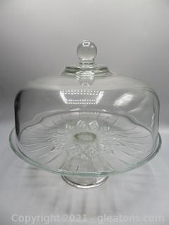 Beautiful Glass Covered Cake Stand