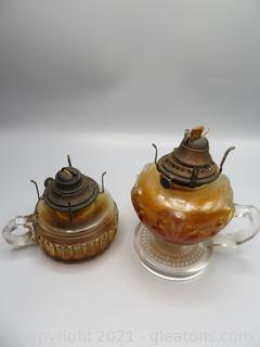 Two Oil Lamps with Finger Handles