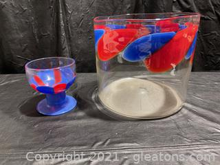 Pretty Blue & Red Glass Pieces