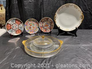 Asian Inspired Decorative Dishes and Divided Tray w/ Lid