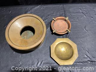Brass Spittoon & 2 Brass Ashtrays