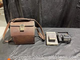 Marsand Leather Camera Case W /Vintage Polaroid Land Camera & Light