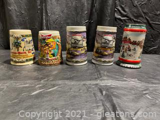 Collection of Budweiser Beer Steins (Lot of 5)