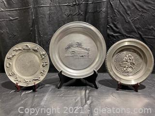 Pewter Plate Collection (Lot of 3)