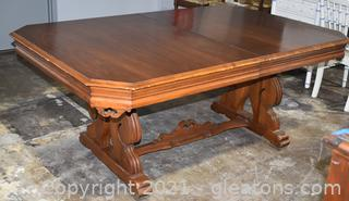 Antique Walnut Old Charm Dining Room Table